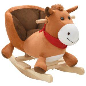 Animal de baloiçar cavalo em pelúcia 60x32x50 cm castanho - PORTES GRÁTIS