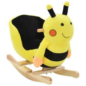 Animal de baloiçar abelhão em pelúcia 60x32x57 cm amarelo - PORTES GRÁTIS