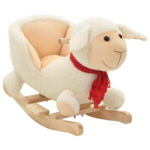 Animal de baloiçar ovelha em pelúcia 60x32x50 cm branco - PORTES GRÁTIS