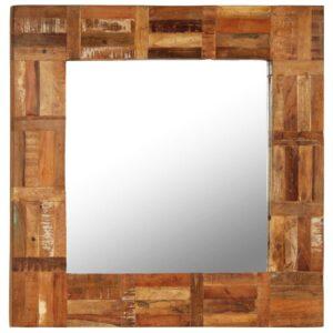 Espelho de parede em madeira recuperada maciça 60x60 cm - PORTES GRÁTIS