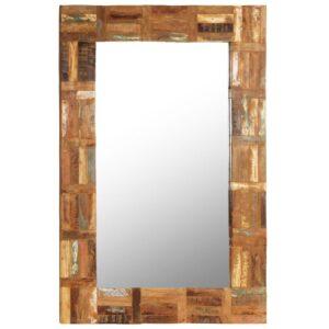 Espelho de parede em madeira recuperada maciça 60x90 cm - PORTES GRÁTIS