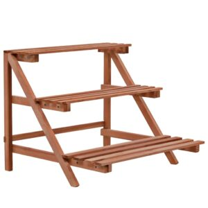 Suporte para plantas de 3 níveis madeira de cedro 48x45x40 cm - PORTES GRÁTIS