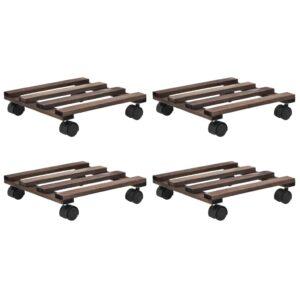 Bases com rodas p/ vasos 4 pcs madeira de cedro 25x25 cm - PORTES GRÁTIS