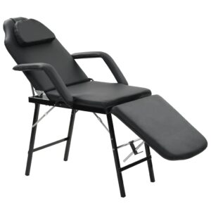Cadeira esteticista portátil couro artificial 185x78x76cm preto - PORTES GRÁTIS