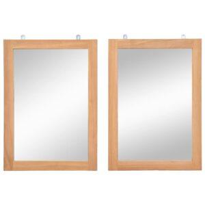 Espelhos de parede 2 pcs em teca maciça 50x70 cm - PORTES GRÁTIS
