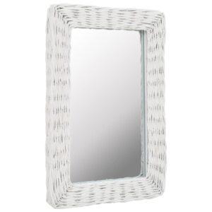 Espelho em vime branco 40x60 cm - PORTES GRÁTIS