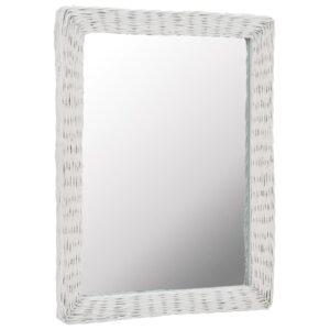 Espelho em vime branco 60x80 cm - PORTES GRÁTIS