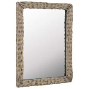 Espelho em vime castanho 60x80 cm - PORTES GRÁTIS