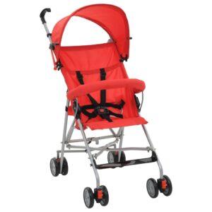 Carrinho de bebé dobrável vermelho aço - PORTES GRÁTIS