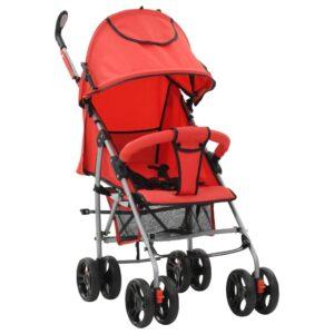 Carrinho de bebé 2-em-1 dobrável vermelho aço - PORTES GRÁTIS