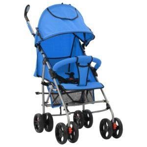 Carrinho de bebé 2-em-1 dobrável azul aço - PORTES GRÁTIS