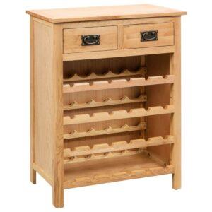 Armário para vinhos 72x32x90 cm madeira carvalho maciça - PORTES GRÁTIS