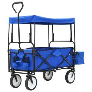 Carrinho de mão dobrável com toldo em aço azul - PORTES GRÁTIS