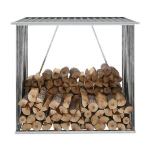 Abrigo p/ arrumação de troncos jardim aço 163x83x154cm cinzento  - PORTES GRÁTIS