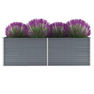 Vaso/floreira de jardim em aço galvanizado 240x80x77cm cinzento - PORTES GRÁTIS