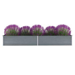 Vaso/floreira de jardim em aço galvanizado 320x80x45cm cinzento - PORTES GRÁTIS