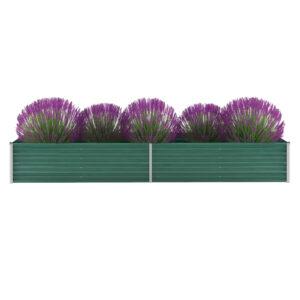 Vaso/floreira de jardim em aço galvanizado 320x80x45 cm verde - PORTES GRÁTIS