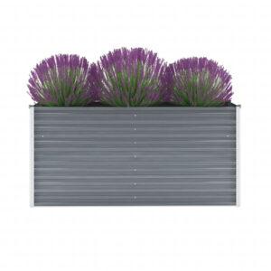 Vaso/floreira de jardim em aço galvanizado 160x40x77cm cinzento - PORTES GRÁTIS
