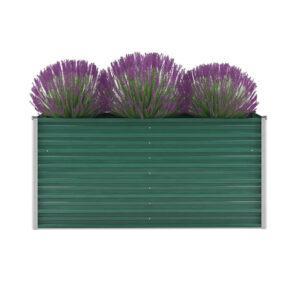 Vaso/floreira de jardim em aço galvanizado 160x40x77 cm verde - PORTES GRÁTIS