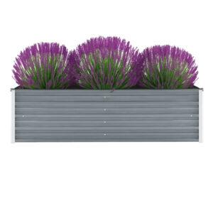 Vaso/floreira de jardim em aço galvanizado 160x40x45cm cinzento - PORTES GRÁTIS