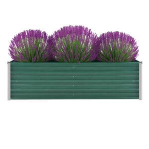 Vaso/floreira de jardim em aço galvanizado 160x40x45 cm verde - PORTES GRÁTIS