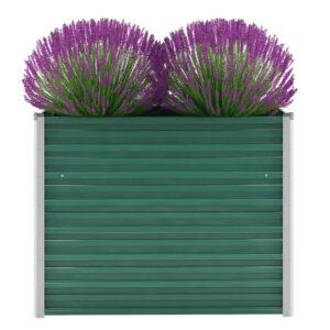Vaso/floreira de jardim em aço galvanizado 100x40x77 cm verde - PORTES GRÁTIS