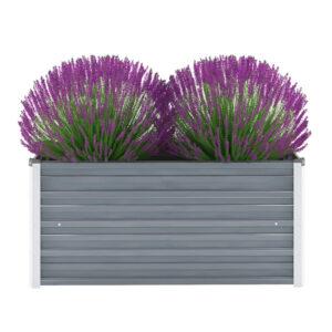 Vaso/floreira de jardim em aço galvanizado 100x40x45cm cinzento - PORTES GRÁTIS