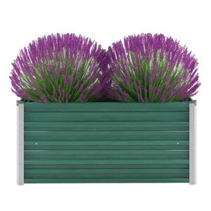 Vaso/floreira de jardim em aço galvanizado 100x40x45 cm verde - PORTES GRÁTIS