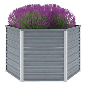 Vaso/floreira de jardim aço galvanizado 129x129x77 cm cinzento - PORTES GRÁTIS
