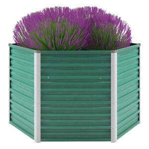 Vaso/floreira de jardim aço galvanizado 129x129x77 cm verde - PORTES GRÁTIS