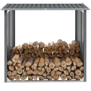 Abrigo jardim p/ arrumação de troncos aço 172x91x154cm cinzento - PORTES GRÁTIS