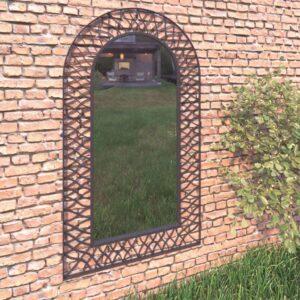Espelho de parede arqueado para jardim 60x110 cm preto - PORTES GRÁTIS