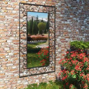 Espelho de parede para jardim retangular 60x110 cm preto - PORTES GRÁTIS