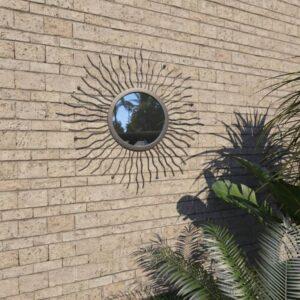 Espelho de parede para jardim raios de sol  60 cm preto - PORTES GRÁTIS