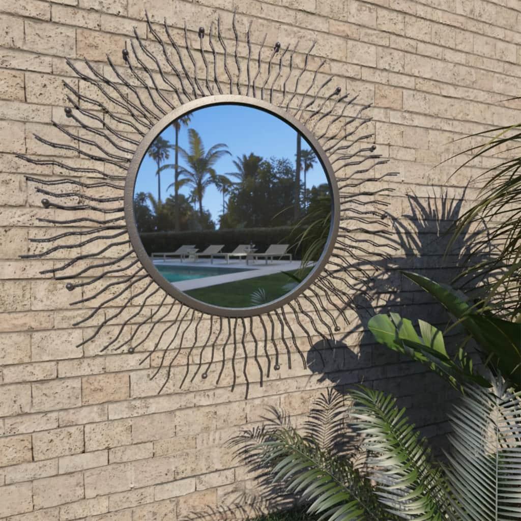 Espelho de parede para jardim raios de sol 80 cm preto – PORTES GRÁTIS
