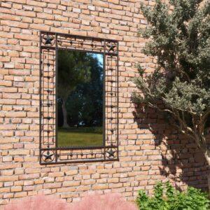 Espelho de parede para jardim retangular 50x80 cm preto - PORTES GRÁTIS