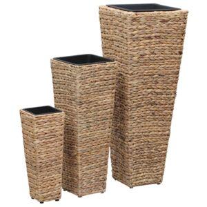 Vasos para jardim 3 pcs jacinto de água castanho - PORTES GRÁTIS