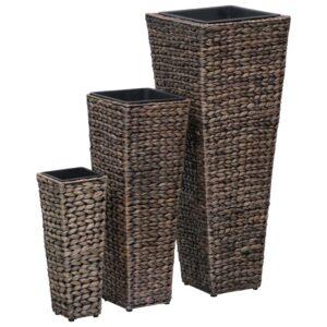 Vasos para jardim 3 pcs jacinto de água castanho escuro - PORTES GRÁTIS