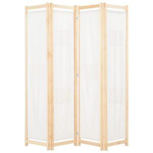 Divisória de quarto com 4 painéis 160x170x4 cm tecido cor creme - PORTES GRÁTIS