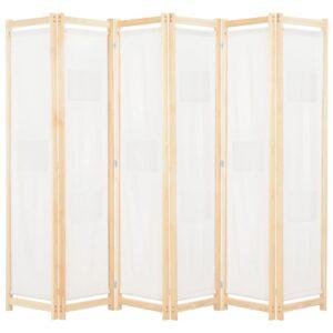 Divisória de quarto com 6 painéis 240x170x4 cm tecido cor creme - PORTES GRÁTIS
