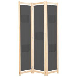 Divisória de quarto com 3 painéis 120x170x4 cm tecido cinzento - PORTES GRÁTIS
