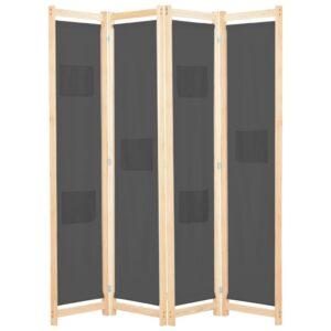 Divisória de quarto com 4 painéis 160x170x4 cm tecido cinzento - PORTES GRÁTIS