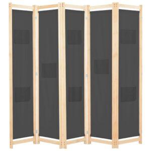 Divisória de quarto com 5 painéis 200x170x4 cm tecido cinzento - PORTES GRÁTIS