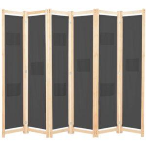 Divisória de quarto com 6 painéis 240x170x4 cm tecido cinzento - PORTES GRÁTIS