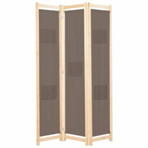 Divisória de quarto com 3 painéis 120x170x4 cm tecido castanho - PORTES GRÁTIS