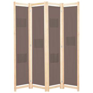Divisória de quarto com 4 painéis 160x170x4 cm tecido castanho - PORTES GRÁTIS