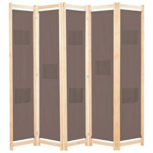 Divisória de quarto com 5 painéis 200x170x4 cm tecido castanho - PORTES GRÁTIS