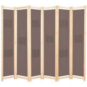 Divisória de quarto com 6 painéis 240x170x4 cm tecido castanho - PORTES GRÁTIS