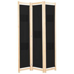 Divisória de quarto com 3 painéis 120x170x4 cm tecido preto - PORTES GRÁTIS