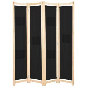 Divisória de quarto com 4 painéis 160x170x4 cm tecido preto - PORTES GRÁTIS